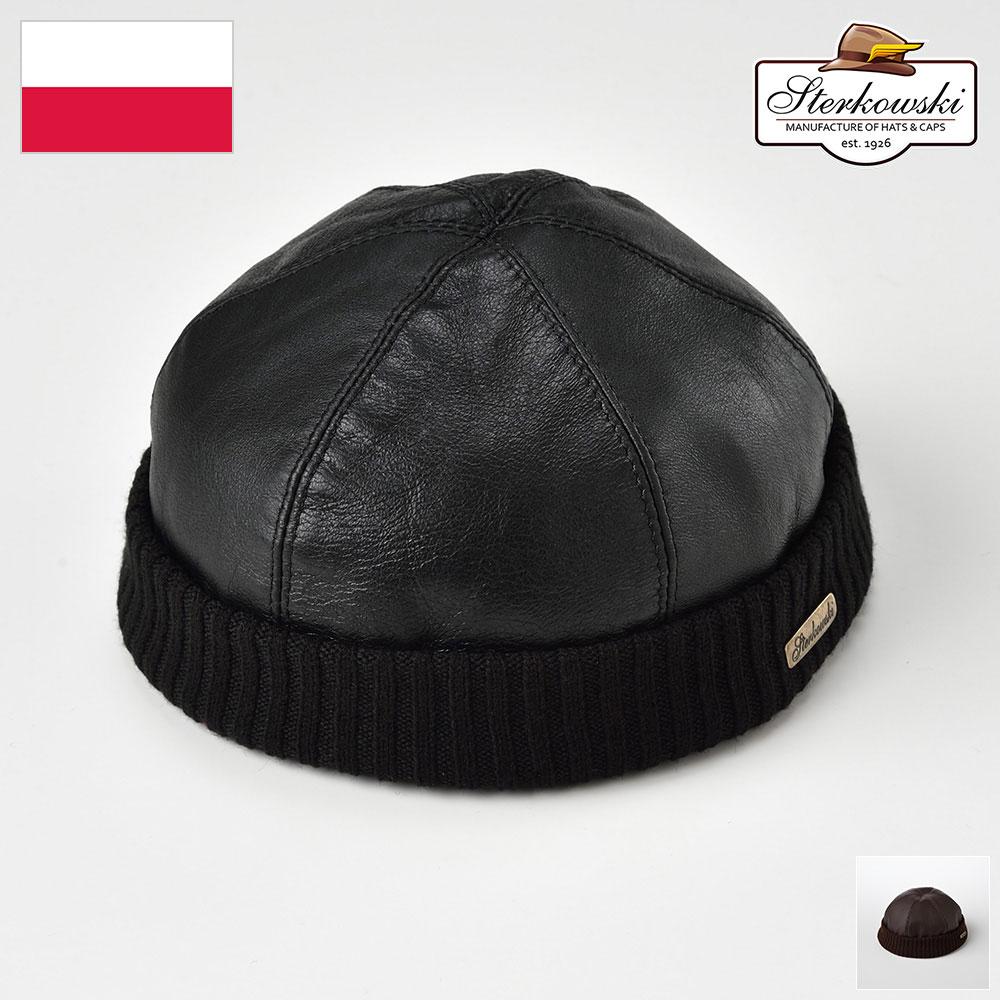 ロールキャップ メンズ レディース ビーニー ワッチ レザーキャップ 大きいサイズ 牛革 ブラック ブラウン M L XL XXL Sterkowski ステルコフスキー [レザービーニーキャップ] 紳士帽 メンズキャップ あす楽 送料無料