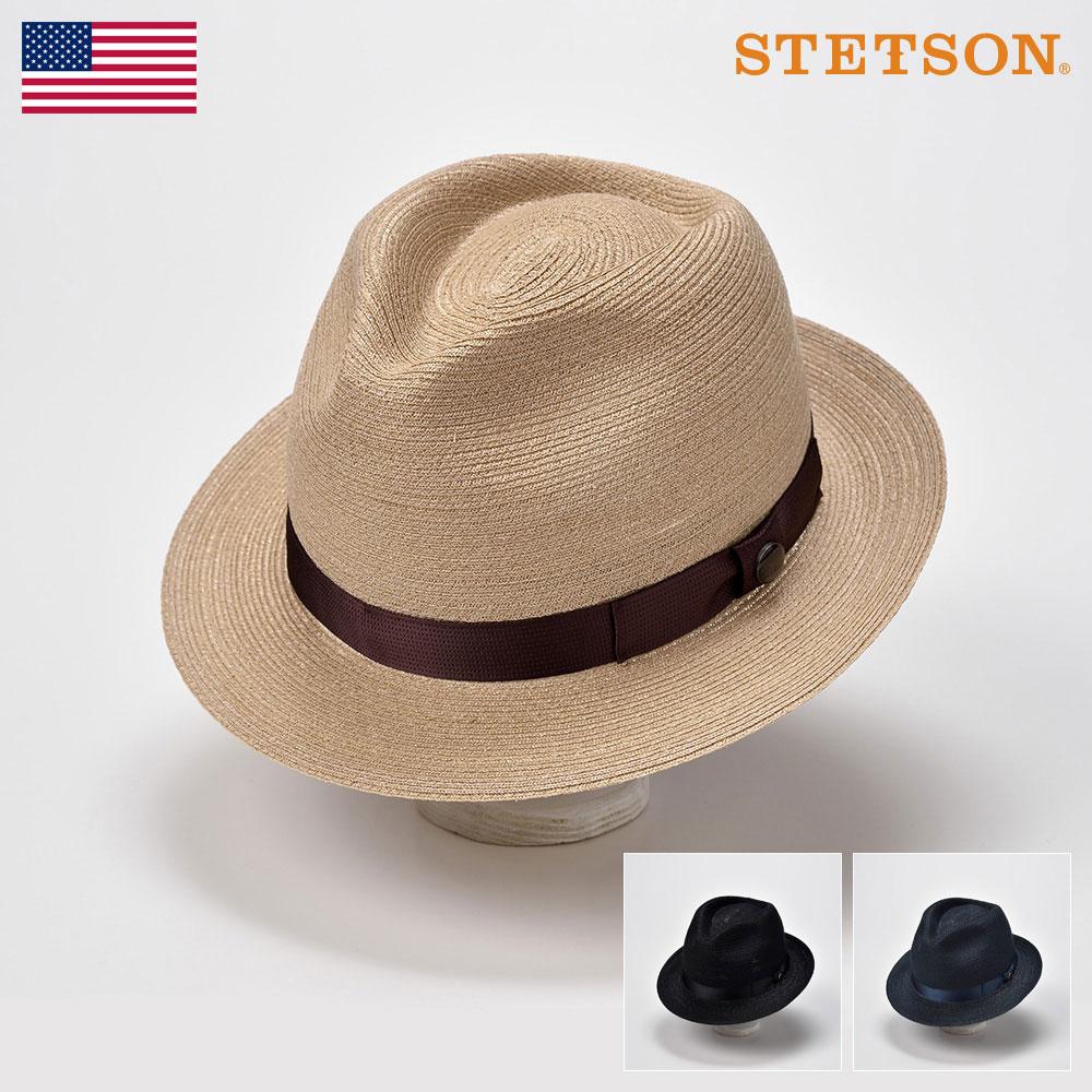 ステットソン STETSON ストローハット メンズ 麦わら 中折れハット ブレードハット 帽子 レディース 紳士 大きいサイズ 春 夏 ベージュ ブラック ネイビー 58 60 [マニッシュブレードリネンSE433] メンズ帽子 あす楽 送料無料