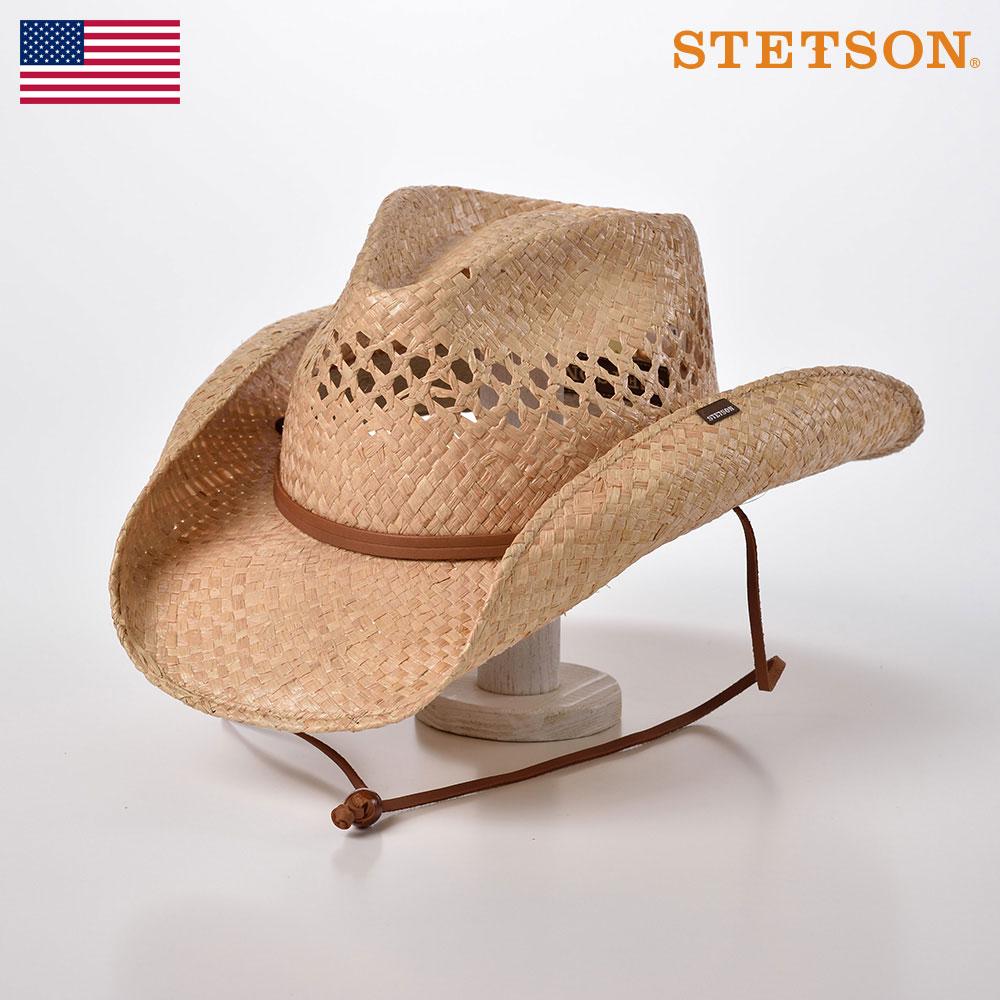【10%OFFクーポン配布中】STETSON(ステットソン) カウボーイハット メンズ レディース 春夏 大きいサイズ 顎紐付き 中折れハット テンガロン ウエスタン 紳士帽 ナチュラル 送料無料 [ブリッジャーラフィア ST939] あす楽