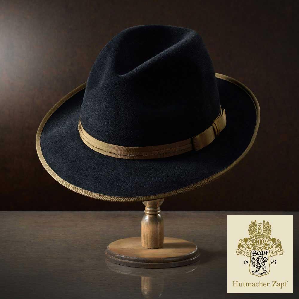 【ルパンの娘 衣裳提供】 フェルトハット メンズ レディース ラビットファー 中折れハット ハット 帽子 フェルト帽 紳士 秋冬 大きいサイズ 黒 ブラック Zapf ツァップ [アルトアウスゼー] 紳士帽 メンズ帽子 送料無料 あす楽