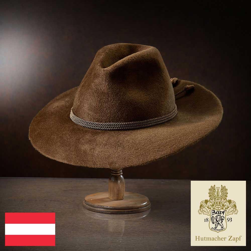 メンズ フェルトハット 中折れハット 中折れ帽 ラビットファー ハット 帽子 フェルト帽 紳士 秋冬 大きいサイズ つば広 ブラウン S M L XL Zapf ツァップ [クリムト] 紳士帽 メンズ帽子 あす楽