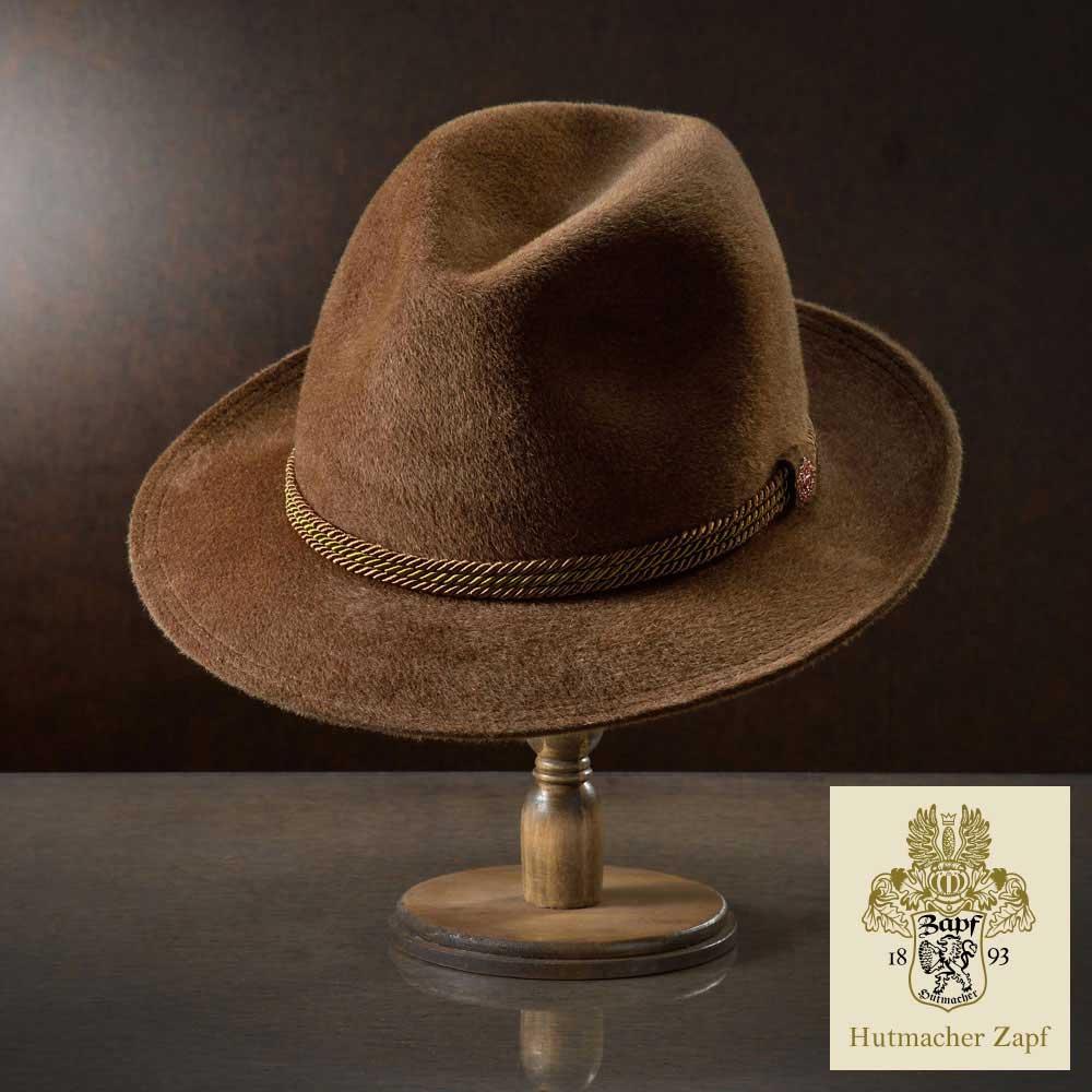 フェルトハット 中折れハット メンズ レディース ラビットファー ハット 帽子 フェルト帽 紳士 秋冬 大きいサイズ ブラウン 茶 フォーマル S M L XL オーストリア Zapf ツァップ [ホーフヤークト] メンズ帽子 送料無料 あす楽