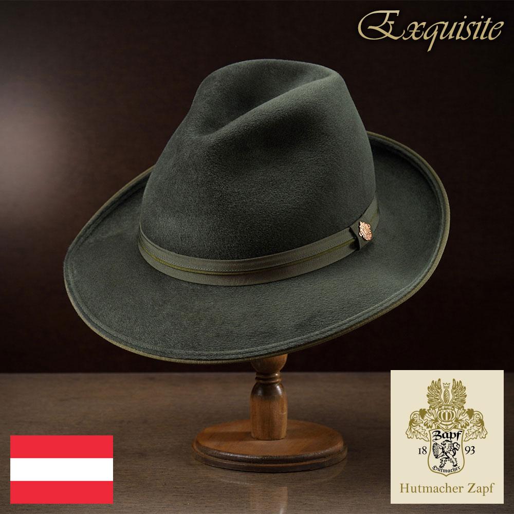 メンズ フェルトハット 中折れハット ラビットファー ハット 帽子 フェルト帽 紳士 秋 冬 秋冬 大きいサイズ グレー グリーン 55~62cm Zapf ツァップ [ブリュンバッハ] 紳士帽 メンズ帽子 プレゼント あす楽 送料無料