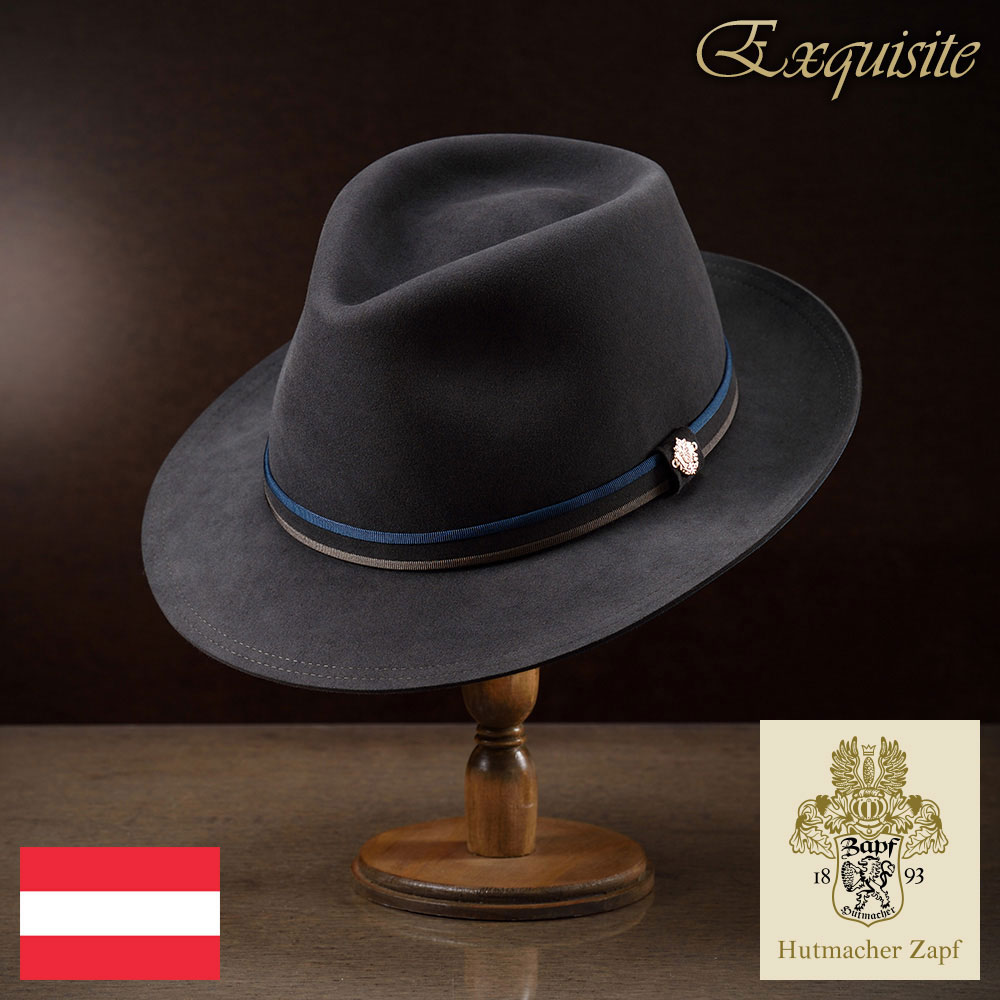 メンズ レディース ビーバーフェルトハット 中折れハット 中折れ帽 紳士ハット ハット 高級 帽子 フェルト帽 紳士 秋冬 大きいサイズ グレー 灰色 55~62cm Zapf ツァップ [エステビーバー] 紳士帽 メンズ帽子 送料無料 父の日