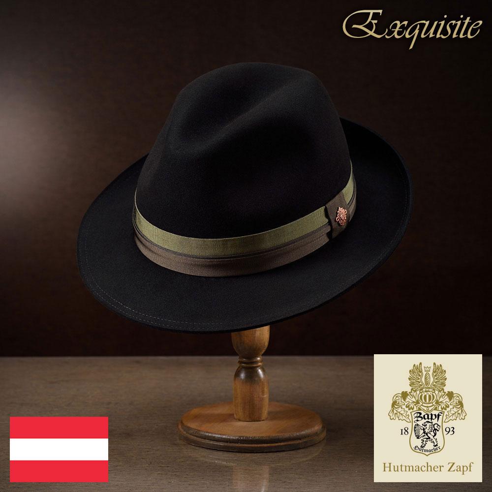 ビーバーフェルトハット メンズ 中折れハット 中折れ帽 紳士ハット ハット 高級 帽子 フェルト帽 レディース 紳士 秋冬 大きいサイズ ブラック 黒 Zapf ツァップ [フランツカールビーバー] 紳士帽 メンズ帽子 送料無料 父の日