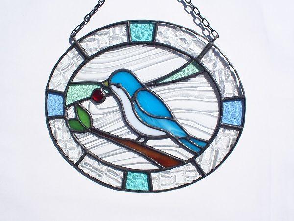 【風色】ハンドメイド ステンドグラス 幸せの「青い鳥」