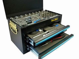 Pro-Auto(プロオート) ミニチェスト 工具セット 1/4DRツールセット51ピース(ブラック) ★MC-0251BL