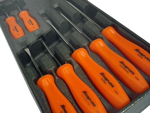 【送料無料】 Snap-on(スナップオン) 樹脂製スクリュードライバーセット 7ピース(オレンジ) ★SDDX70AO