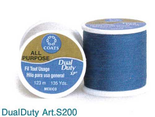ポリエステル100%なので強力で切れにくく 滑らかな縫い心地 手芸 手作り パッチワーク糸 デュアルデューティArt.S200 55番手 123m 同色 3個入1箱 色番号備考欄記入DualDuty