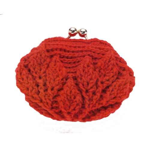 かわいいがま口 編み物キット 編み図付き ハマナカピッコロ 本日の目玉 1玉でできます 1000円ポッキリ 編図4 お客様オリジナル ハマナカ リーフ柄の引き上げ編みがま口 期間限定特別価格 ページ1