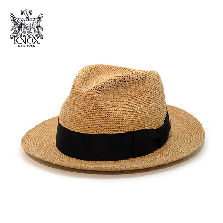 帽子 メンズ 中折れハット KNOX ラフィア 帽子 ノックス ストローハット レディース 麦わら リゾート 帽子 夏 ナチュラル [ fedora ] [ straw hat ] 送料無料 (ぼうし おしゃれ サマーハット 麦わらぼうし 30代 50代 オシャレ ユニセックス 中折れ帽)