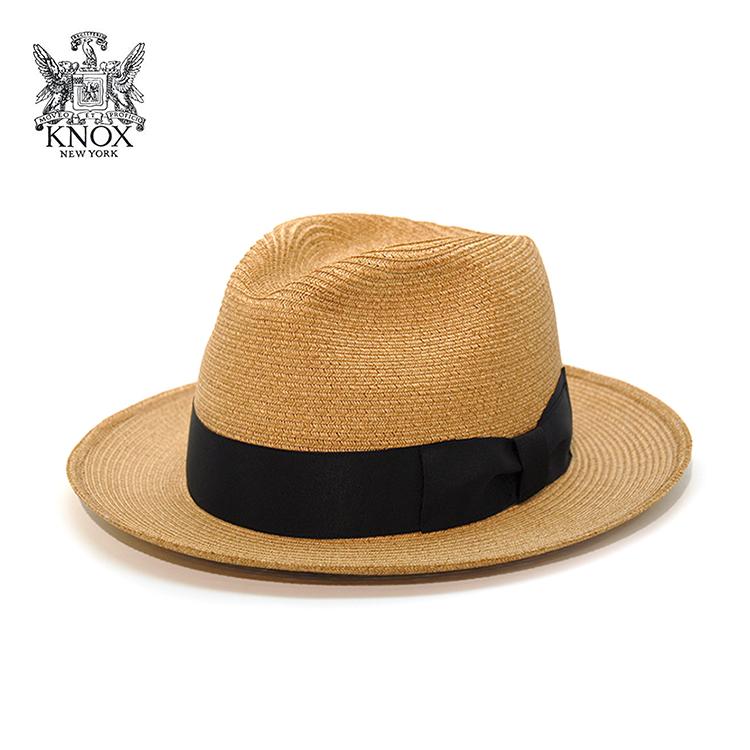 帽子 メンズ 中折れハット KNOX ペーパーブレード 帽子 ノックス ストローハット レディース 麦わら 系 帽子 夏 ナチュラル [ fedora ] [ straw hat ] 送料無料 (ぼうし おしゃれ サマーハット 麦わらぼうし 30代 50代 オシャレ ユニセックス 中折れ帽)