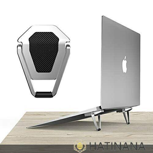 Antaka パソコンスタンド お中元 折りたたみ式 アルミ製 滑り 滑り止めラバー付き 持ち運び便利なデスクワーク用パソコンスタンド 期間限定送料無料 銀 両面テープ固定