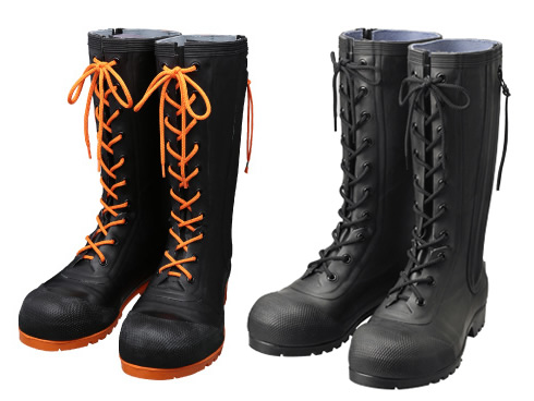 AB090(ブラック) AB110(ブラック/オレンジ) 安全編上長靴 HSS-001 メンズ 安全長靴 安全靴 ゴム長靴 作業長靴 長靴 作業用 作業用長靴 編上げ 日本製