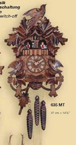 鳩時計 壁掛け時計 ハト時計 はと時計 ポッポ時計 一日巻き鳩時計635MT おもり式 高さ:約37cm
