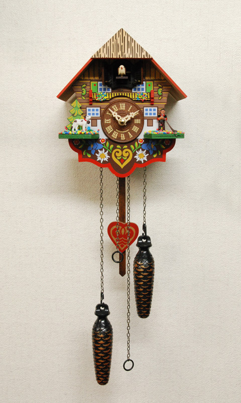 鳩時計 壁掛け時計 ハト時計 はと時計 ポッポ時計 クォーツ式 森の時計 チロリアン山小屋415QM