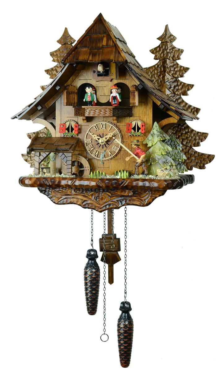 鳩時計 壁掛け時計 ハト時計 はと時計 ポッポ時計 4739QMT木こりの休日【ENGSTLER鳩時計ムーブメント】