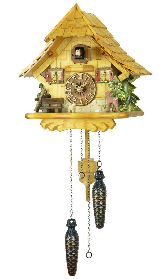 鳩時計 壁掛け時計 ハト時計 はと時計 ポッポ時計 クォーツ式 森の時計 492-7QM バンビの山小屋