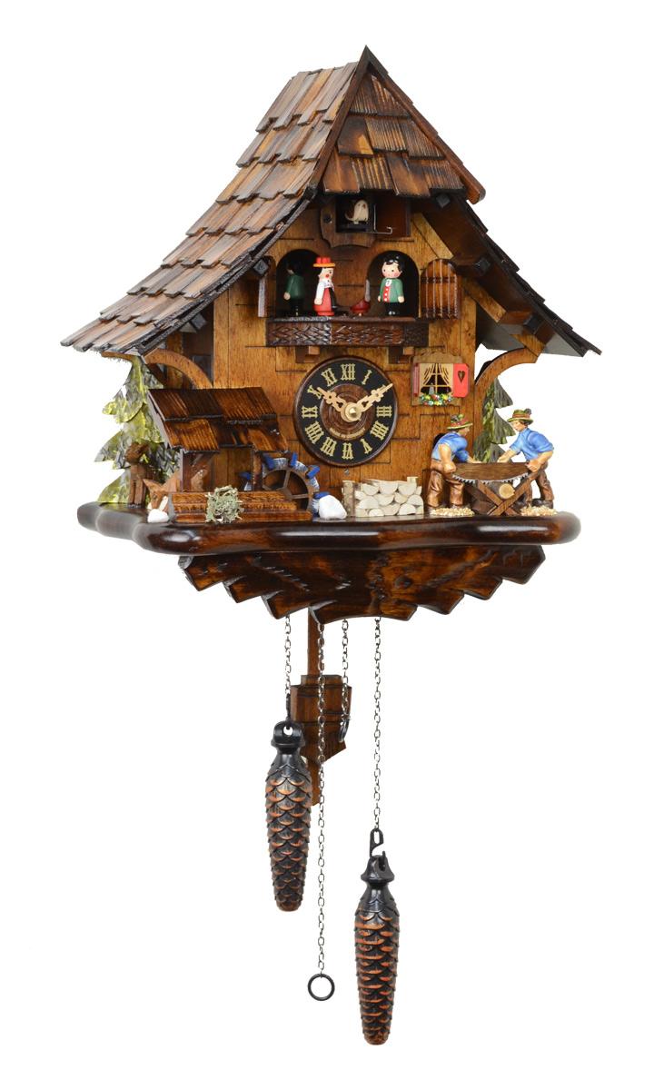 鳩時計 壁掛け時計 ハト時計 はと時計 ポッポ時計クォーツ式 山小屋モデル 木こりのお仕事 4927QMT