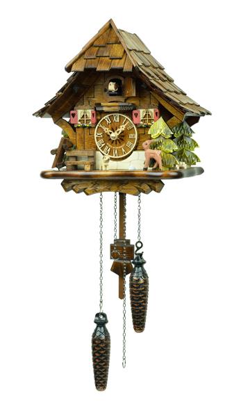 鳩時計 壁掛け時計 ハト時計 はと時計 ポッポ時計 クォーツ式 森の時計 492QM バンビの山小屋