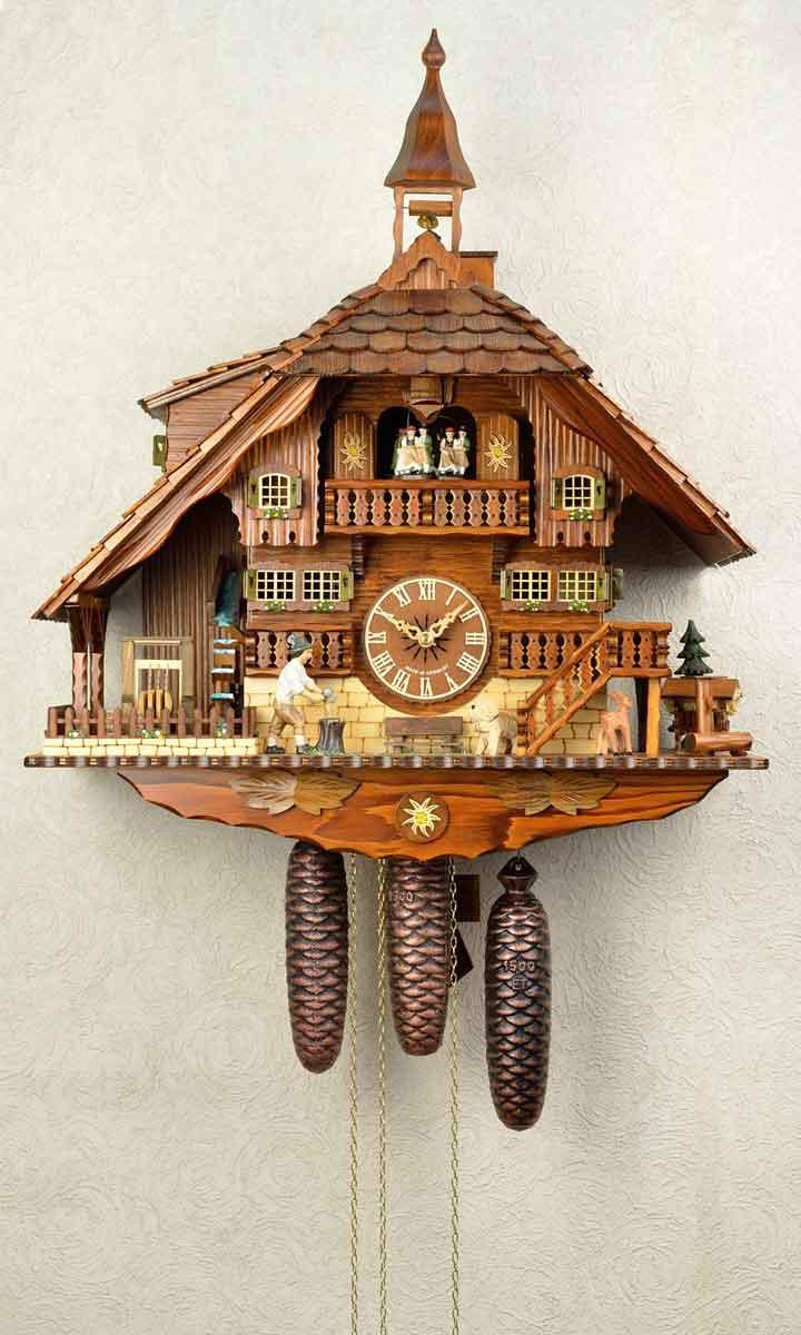鳩時計 壁掛け時計 ハト時計 はと時計 ポッポ時計クォーツ式 木こりのお仕事 8日巻き鳩時計488-8MT 10P09Jul16