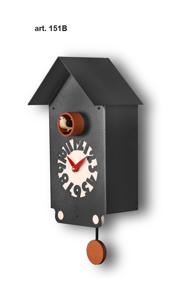 鳩時計 壁掛け時計 ハト時計 はと時計 ポッポ時計 クォーツ式 Pirondini(ピロンディーニ)クク時計 Pirondini Cucu Casetta 151B ブラック クォーツ鳩時計 ★2年保証