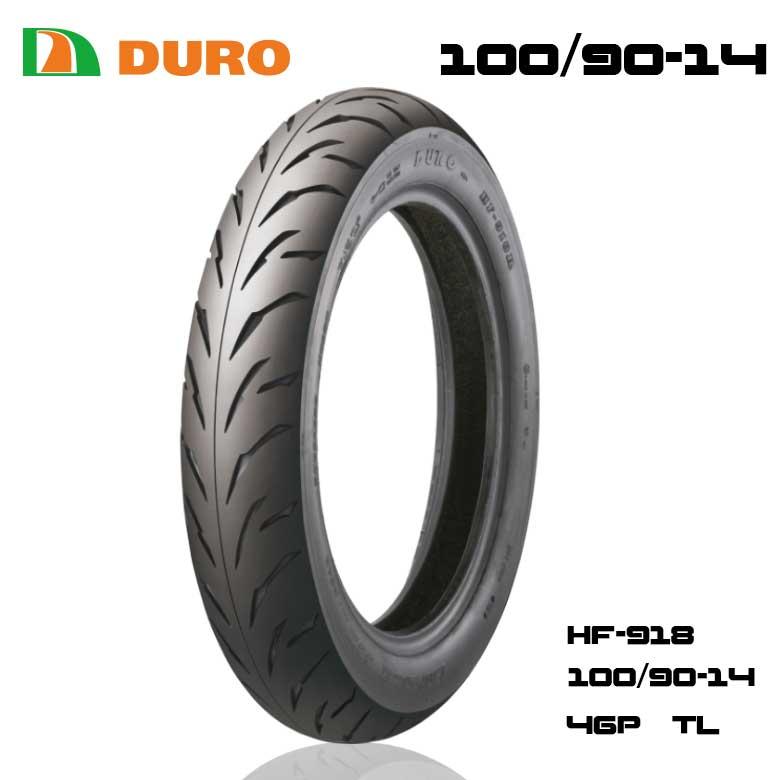 スクーター タイヤ交換 デュロ バイク タイヤ 100 90-14 57P 安心の理由は純正部品採用実績とダンロップとの長期提携工場契約有り HF918 デューロ DUROタイヤ TL 引出物 公式