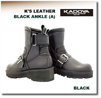 【KADOYA】【カドヤ】K'S LEATHER KS LEATHER メンズ レディース BLACK ANKLEーA ブラックアンクルA ブーツ【No.4316】【取寄品】