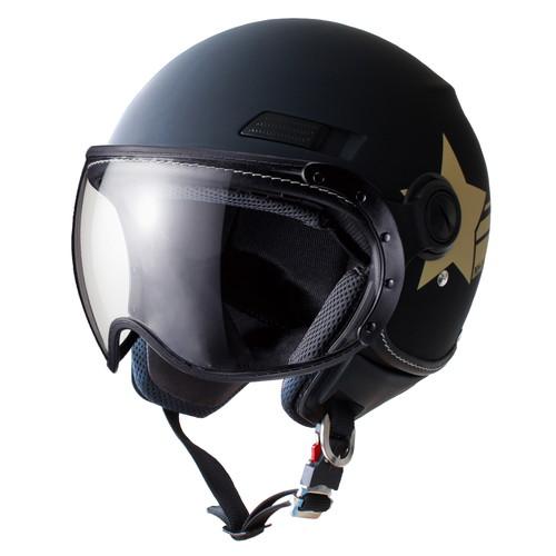 バイクパーツ ヘルメット ヘルメットMS-340 パイロットタイプ ジェットヘルメット アーミースター マットブラック Lマルシン 取寄品