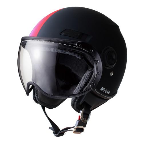 バイクパーツ ヘルメット ヘルメットMS-340 パイロットタイプ ジェットヘルメット アシンメトリック レッド Mマルシン 取寄品