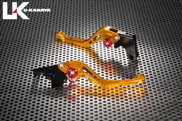 バイク用品 ハンドル レバーユーカナヤ U-KANAYA レバーセット GPタイプ ショート GD BK モンキー125 18-HO078-042-0602 4549950948520取寄品 スーパーセール