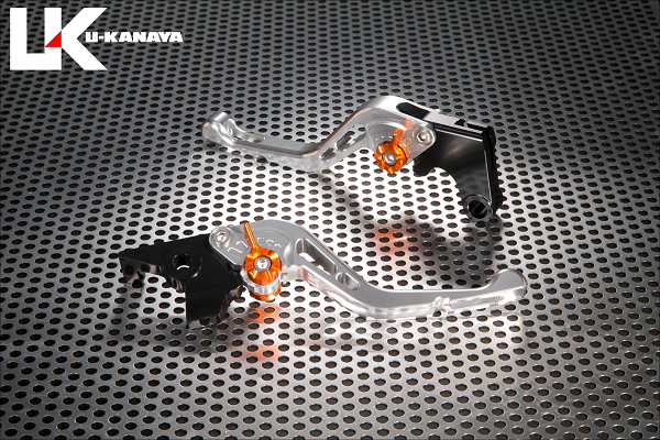 バイク用品 ハンドル レバーユーカナヤ U-KANAYA レバーセット GPタイプ ショート SV BK モンキー125 18-HO078-042-0603 4549950948605取寄品 スーパーセール