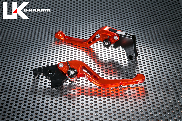 バイク用品 ハンドル レバーユーカナヤ U-KANAYA レバーセット GPタイプ ショート OR GD モンキー125 18-HO078-042-0608 4549950949015取寄品