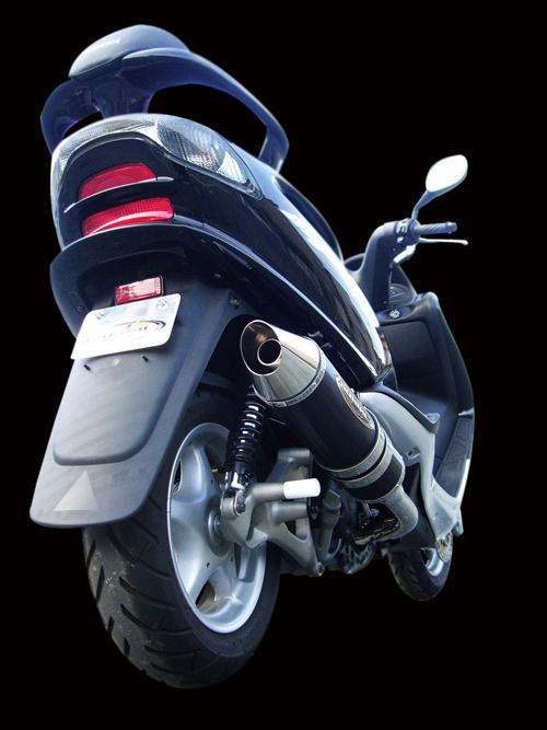 スーパーセール バイク用品 マフラー 4ストフルエキゾーストマフラーベリアル メタルHBスティンガー GM マジェスティ125BURIAL Y18-11-06 取寄品