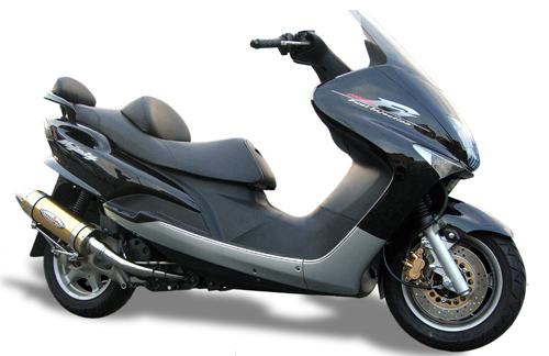スーパーセール バイク用品 マフラー 4ストフルエキゾーストマフラーベリアル スティンガーグリードマフラー BLU マジェスティ125BURIAL Y18-12-03 取寄品