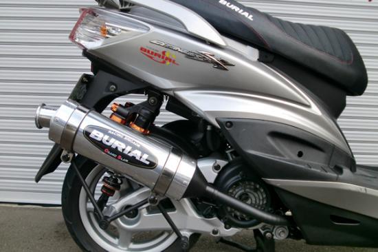 スーパーセール バイク用品 マフラー 4ストフルエキゾーストマフラーベリアル グランドスラムマフラー SLV シグナスX(O2センサータイプ)BURIAL Y17-25-00 取寄品