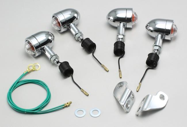 バイク用品 電装系 ウインカー&ウインカーバルブハリケーン ミニブレットウインカーkit クリアレンズ TW200(-98 角型ヘッドライト車)HURRICANE HA5301C-02 取寄品
