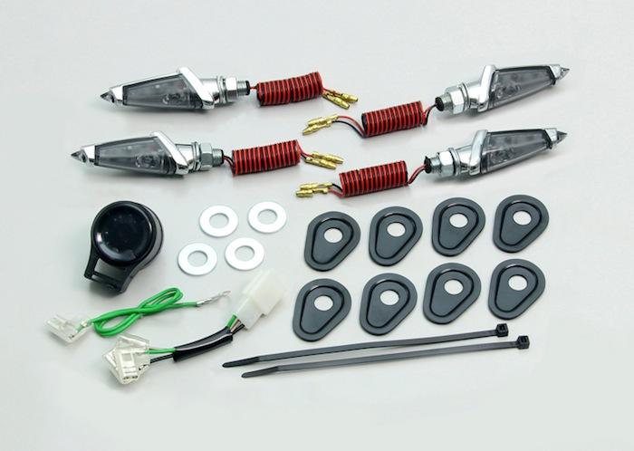 バイク用品 電装系 ウインカー&ウインカーバルブハリケーン LEDダガーウインカーKit メッキ スモークレンズ YZF-R25 等HURRICANE HA5226MS 取寄品