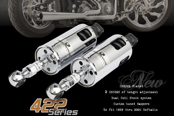 スーパーセール バイク用品 サスペンション&ローダウン リアサスペンションプログレッシブ 422シリーズADJ クローム SOFTAIL 00-17PROGRESSIVE 1310-0205 取寄品