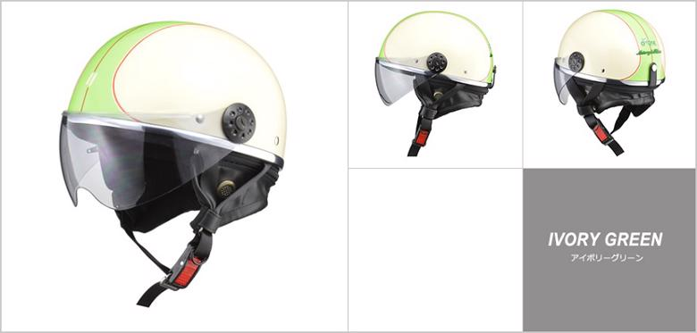 スーパーセール バイク用品 ヘルメット ヘルメットリード O-ONE ハーフヘルメット #フリー アイボリー グリーンLEAD 4952652150144 取寄品