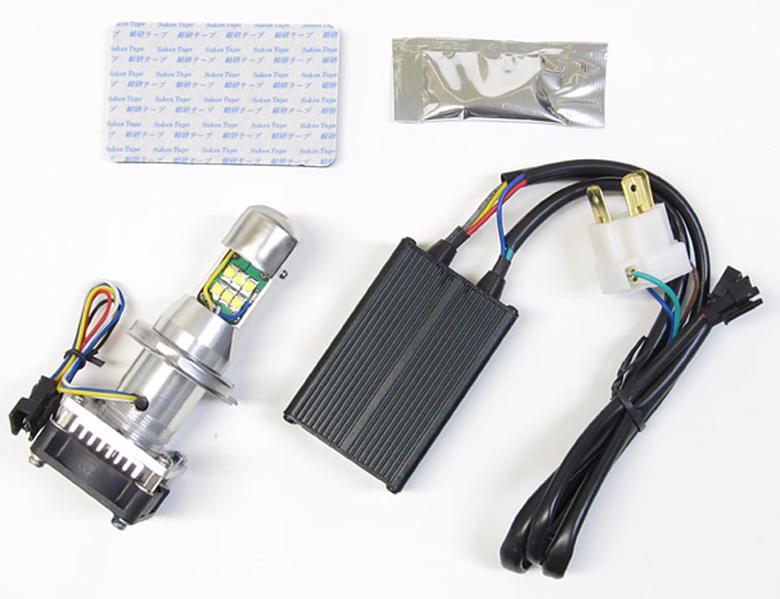バイク用品 電装系 ヘッドライト&ヘッドライトバルブProtec LB4-L サイクロンLEDバルブ H4-Hi Lo ロングヒートシンク 6000k 30wプロテック 65002取寄品