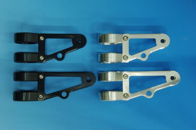 ウッドストック ヘッドライトステー Eタイプ ロング/BLK フォーク径φ43用 《ウッドストック WLS-E43L-BK》
