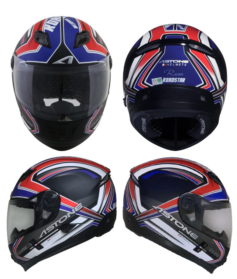 FRANCEASTONEデザインフルフェイスヘルメットROADSTARインナーシールド装備おしゃれかっこいいグラフィックロードスターアストンフランスバイク用