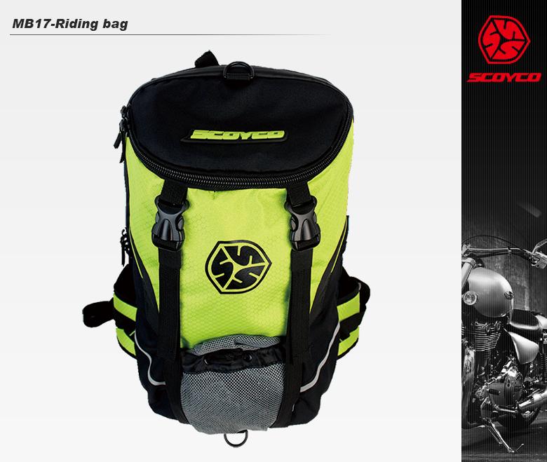 【送料無料】バイク用品ライディングバッグ容量18Lレインカバー付バックパック春夏秋冬グリーンユニセックスSCOYCO(スコイコ)MB17
