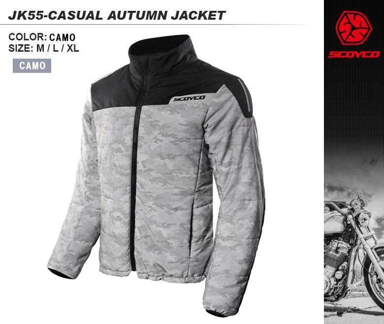 バイクジャケット薄くて軽い防寒ウェアジャケット普段着使いリフレクター付きSCOYCO(スコイコ)JK55