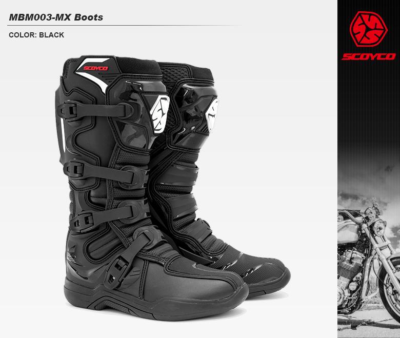 【送料無料】バイク モトクロスブーツ 防水 ヒートガード付 軽量 柔軟 ソール交換可能 SCOYCO MBM003