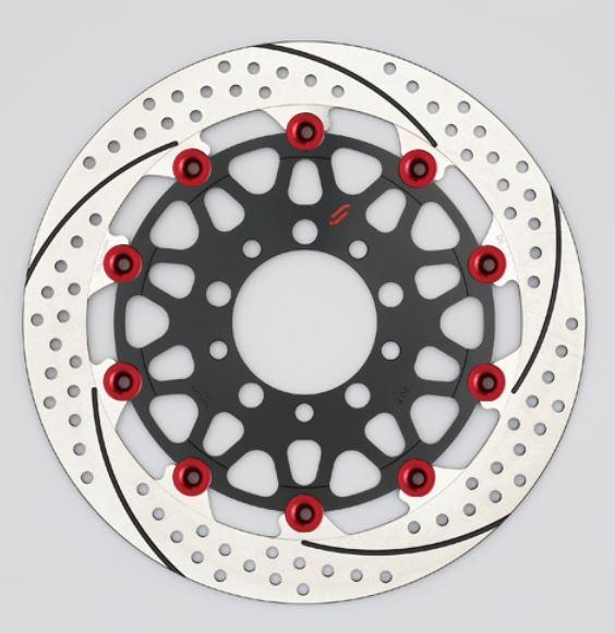 バイク用品 ブレーキ クラッチSUNSTAR BRAKE サンスター プレミアムR スリット&ホール L φ310 GSX1100S ピン:レッドEM213FL-RD 4589719012918取寄品 セール