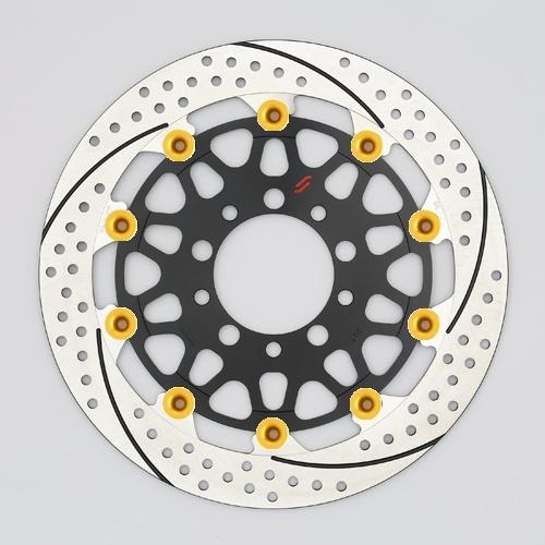 バイク用品 ブレーキ クラッチSUNSTAR BRAKE サンスター プレミアムR スリット&ホール L MT-01(φ320)ピン:ゴールドEM103FL-GD 4589718996035取寄品 セール