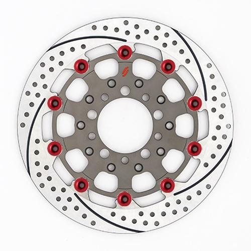 バイク用品 ブレーキ クラッチSUNSTAR BRAKE サンスター プレミアムR スリット&ホール L ZRX1200DAEG(φ310)ピン:レッドES207FL-RD 4589719011799取寄品 セール