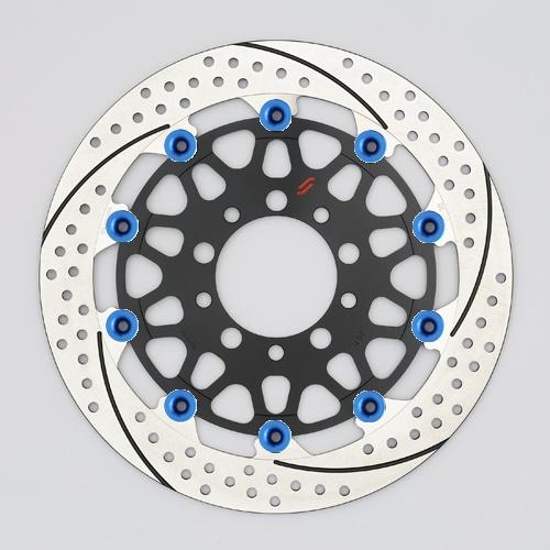 バイク用品 ブレーキ クラッチSUNSTAR BRAKE サンスター プレミアムR スリット&ホール L MT-01(φ320)ピン:ブルーEM103FL-BL 4589719017951取寄品 セール